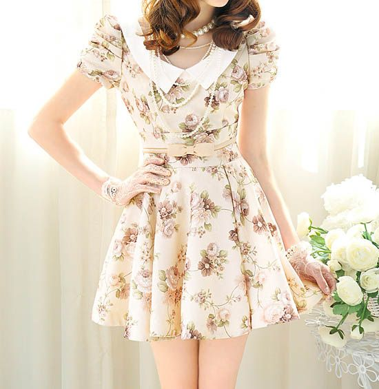 Wholesale Vintage Peter Pan Collar Floral Print Bow Puff Sleeve Women's Pleated Dress (AS THE PICTURE,S), Vintage Dresses - Rosewholesale.co...