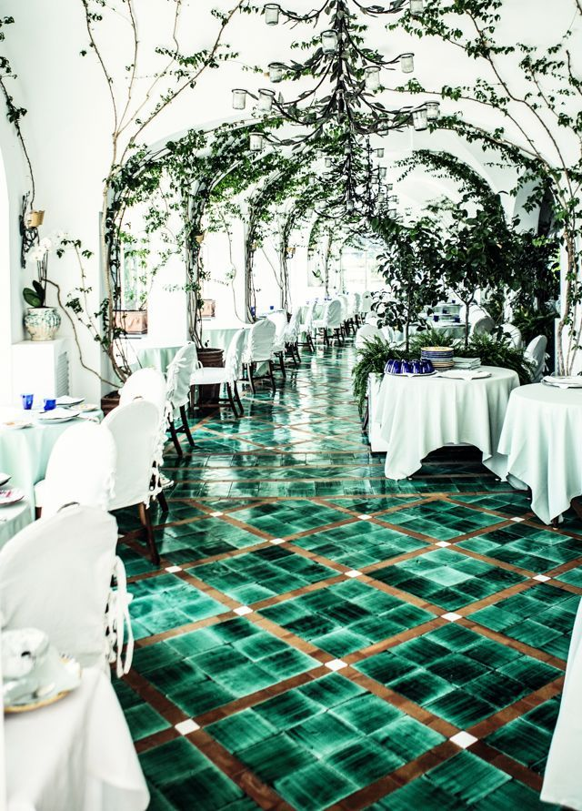Amazing checkered green tiles on the floor of a restaurant in Positano, Italy,