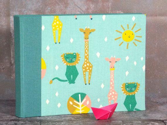 Baby photo album, small photo album, christening gift, momtobe, photos, fabric-related photo album, personalized,  lion and giraffe, pink