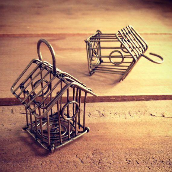 1 Pc Large Birdcage Pendant Charm Antique Bronze Charm Whimsical Wire Bird Cage Vintage Style Pendant Charm Jewelry Supplies. $4.49, via Etsy.