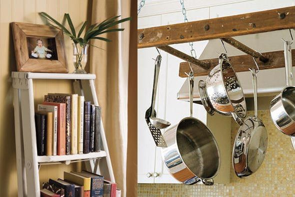 ladder as storage - book shelves, pot hangers