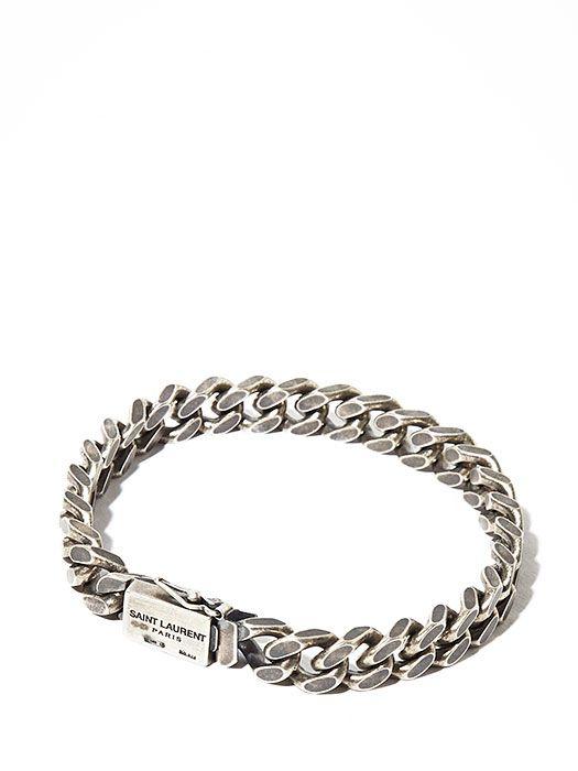 Saint Laurent Mens Silver Chain Bracelet