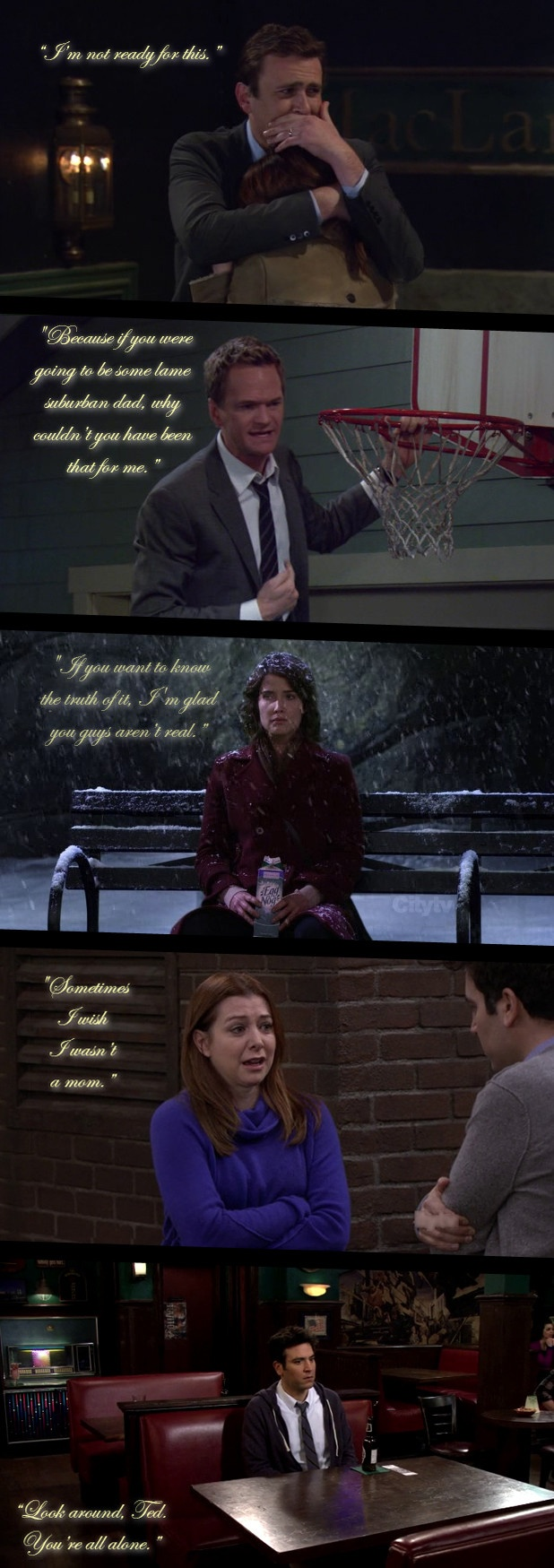 This show is full of comedy but it's also about real life and it has these really sad moments and are true and aren't in other comedies which is why I love himym