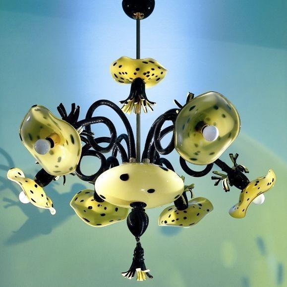 Chandelier, Blown Glass, Yellow. Polka Dots. Artist Maria Grazia Rosin