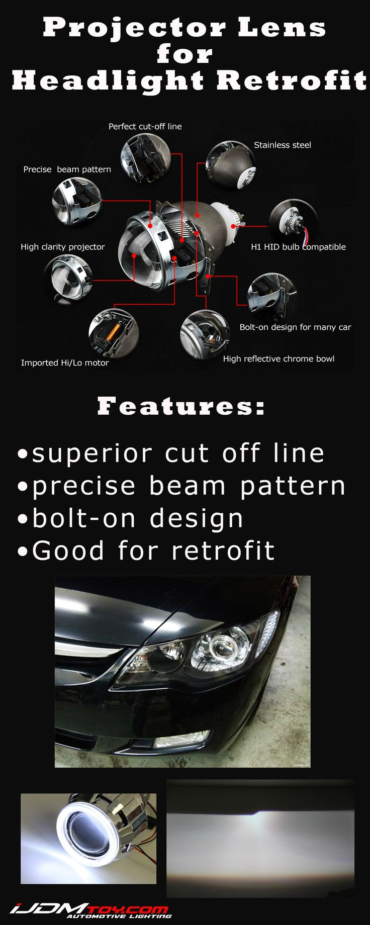 With projector lens, you can retrofit your headlights for a new look.  http://store.ijdmtoy.com/H1-Bi-Xenon-HID-Retrofit-Projector-For-Headlights-p/35-08x-projector.htm  #iJDMTOY #JDM #projector #projectorlens #headlights #aftermarket #retrofit #LED #HID #DIY #carparts #installation