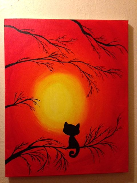 Cat with a yellow moon in the background  16 x 20 by DLBArtShop, $40.00...I think I could do this on a 6x9 canvas drop cloth and use it for a Halloween background.