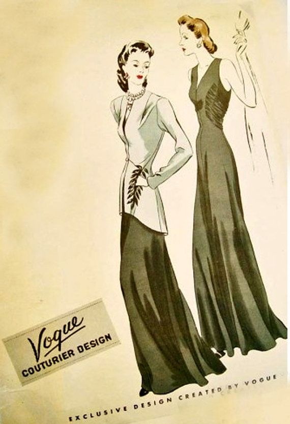 1940s Vintage Sewing Pattern Vogue Couturier Design Pattern 355 Womens Art Deco Evening Dress Gown with Long Jacket Size 16 Bust 34