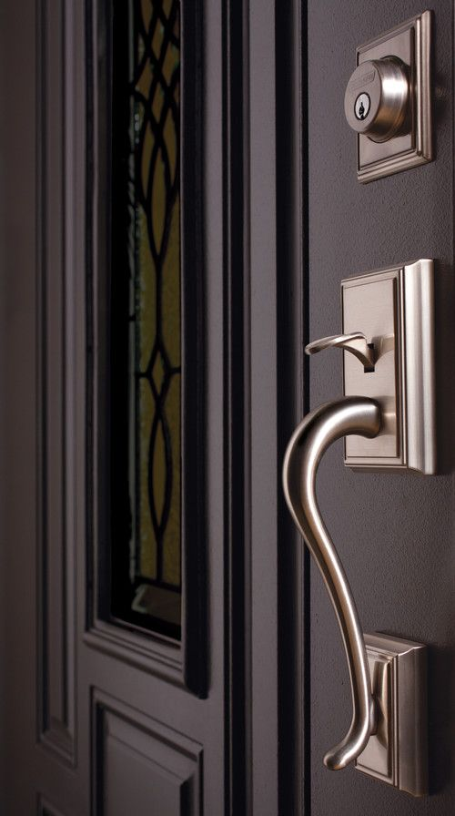 A Beautiful Addison Grip From Schlage   Exterior With Deadbolt   Satin  Nickel   Can Be