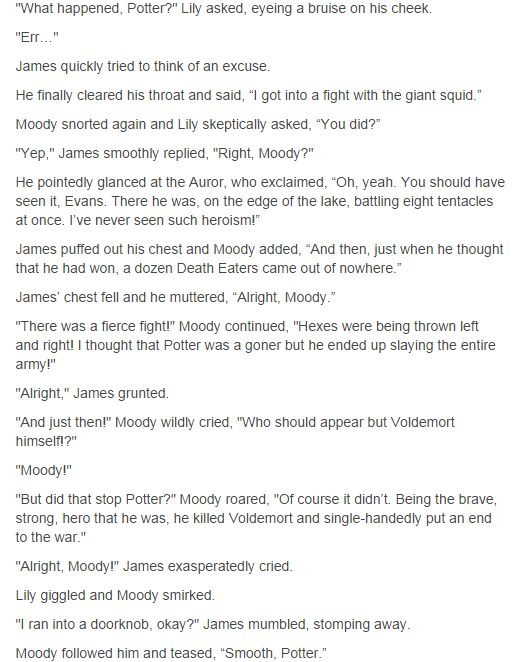 James, Lily, and Moody || I actually can see James doing this!