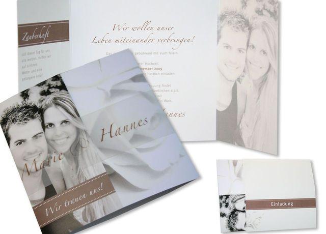 Hochzeitskarten - Rosenrot - in sepia