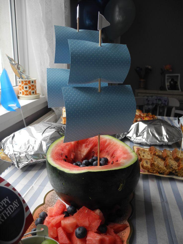 Nautical first birthday food watermelon pirate ship, boat, fun fruit