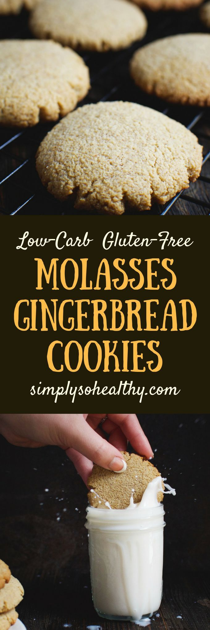 1 g net carbs!  Our recipe for Low-Carb Molasses Gingerbread Cookies is just in time for the holidays!