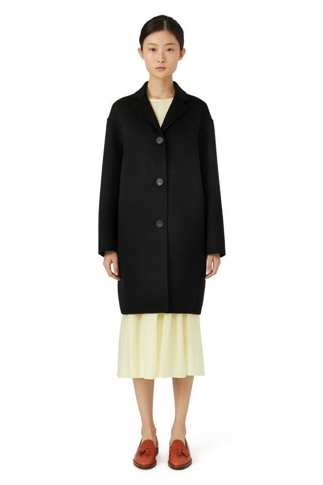 Italian wool black classic coat. Relaxed fit with drop shoulder and two side pockets. Three button closure. Fully double faced and unlined. Made in Italy.