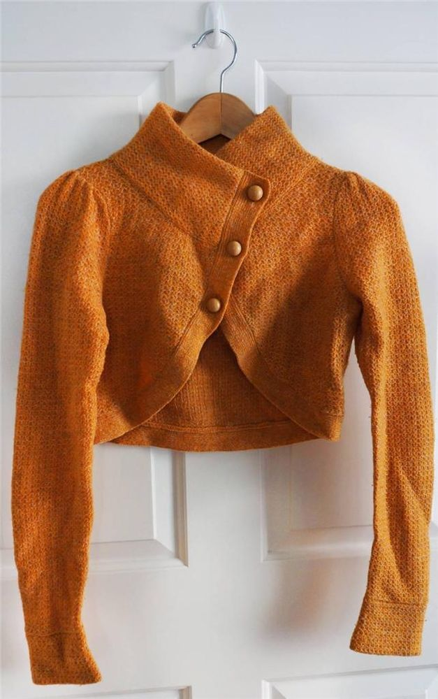 ANTHROPOLOGIE CHARLIE & ROBIN sz XS orange wool cropped cardigan ...
