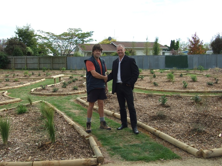 Meeting the Palmerston North Mayor, Jono Naylor in the Butterfly park I built