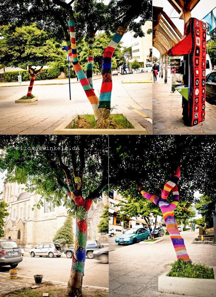Knitted trees in Bariloche, Argentina