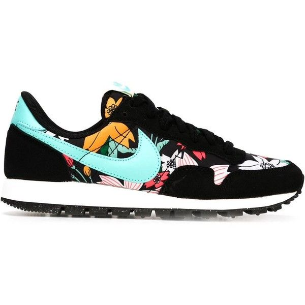 Nike Air Pegasus 83 Sneakers featuring polyvore, fashion, shoes, sneakers, nike, black, black sneakers, floral sneakers, nike footwear, black leather shoes and leather sneakers