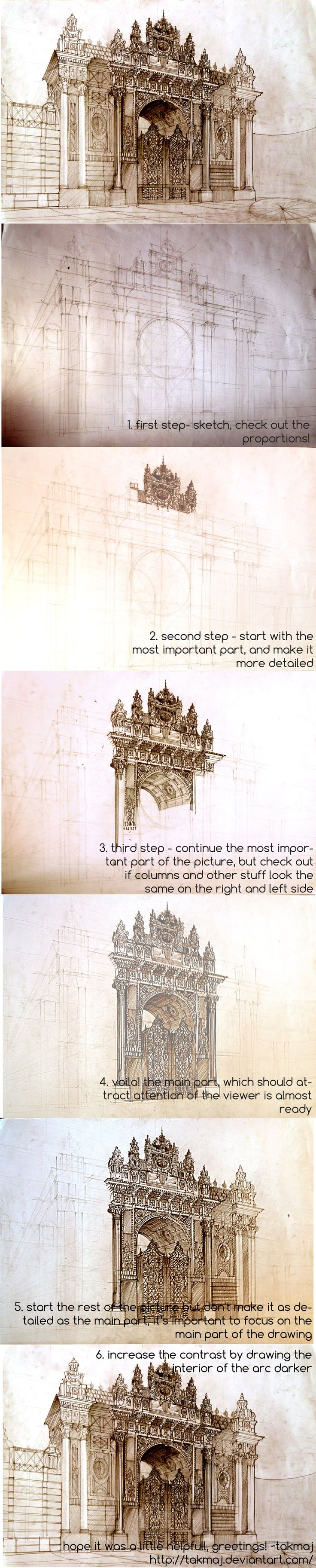 Tutorial by *takmaj on Deviant Art :: DIY :: Art Sketch :: Architecture :: How To Draw
