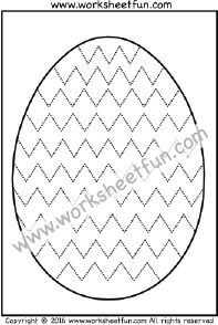 Easter Eggs – Tracing – Coloring – Zig Zag Line Tracing – One Worksheet