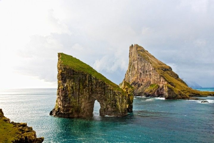 Drangarnir is the collective name for two sea stacks between the islet Tindhólmur and the island Vágar in the Faroe Islands, Iceland