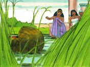 Free Bible illustrations at Free Bible images of Baby Moses rescued from Pharaoh's death sentence. (Exodus 1:8 - 2:10)
