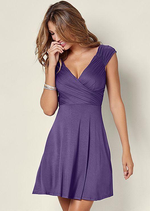 Venus draped front dress in dark purple.