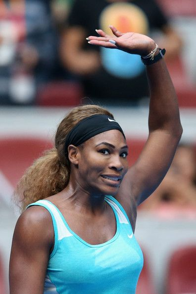 Serena Williams of the United States celebrates winning against Silvia Soler-Espinosa of Spain during day three of the China Open at the China National Tennis Center on September 29, 2014 in Beijing, China. - China Open: Day 3