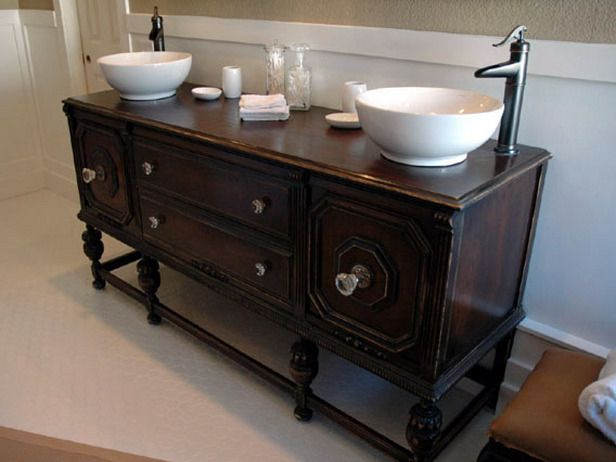 DIY Bathroom Vanity | How To Repurpose Old Furniture In A Bathroom : How To