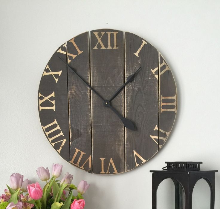 in wall clock large wall clock rustic wall clock wood clock oversized wall clock