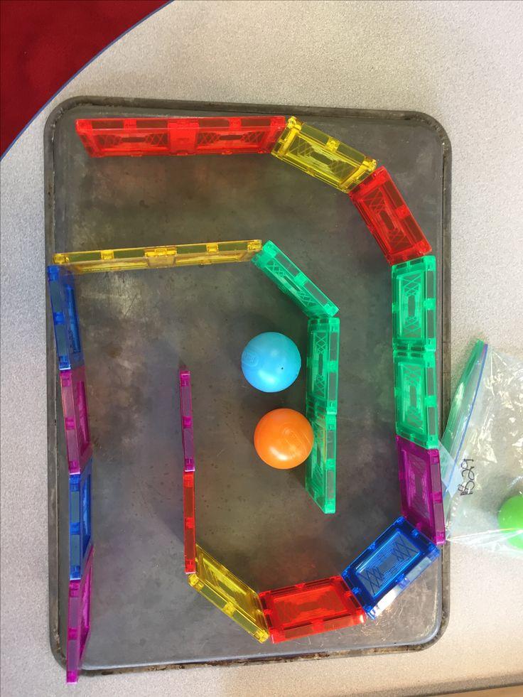 Magnatiles maze on a cookie sheet