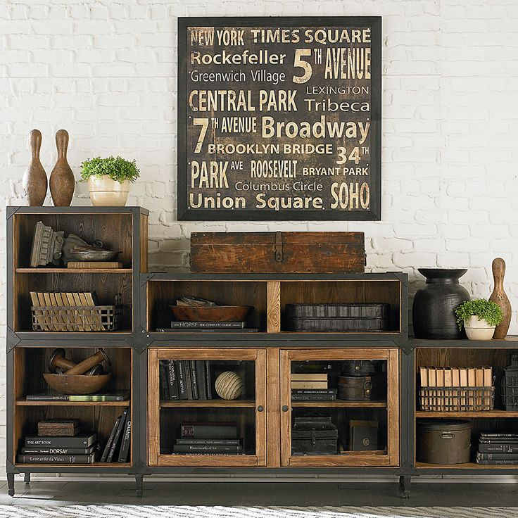 Vintage industrial entertainment center or storage for playroom