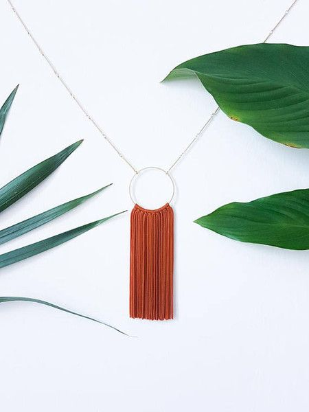 Matte gold-plated hoop necklace with hand-knotted Japanese Bunka tassels.  Fringe-tastic and fab.  The chain is matte gold-plated, and 71 cm in length. Pendant & tassels hang 14 cm.  ❤️ ❤️ ❤️...