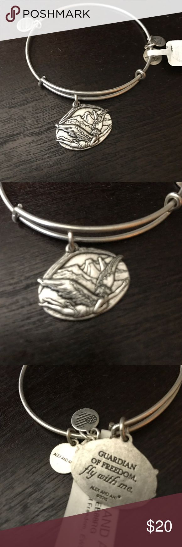 Alex and Ani silver bracelet Alex and Ani silver guardian of freedom, fly with me. New with retail tags Alex & Ani Jewelry Bracelets