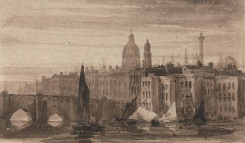 David Cox, 1783–1859, British, Old London Bridge and St. Paul's Cathedral From the Thames, ca. 1808, Brown wash on medium, moderately textured, biege wove paper, Yale Center for British Art, Paul Mellon Collection