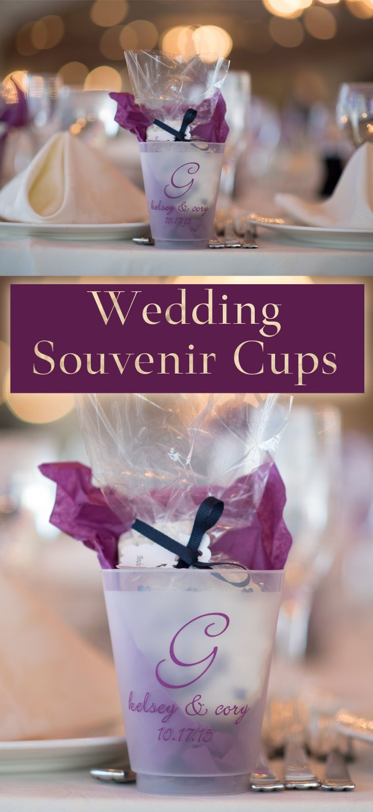 Plastic cups personalized with a design, bride and groom's name and wedding date or custom message make wonderful wedding souvenirs for guests to take home after your reception. Use cups for drinks or place small favors or treats like homemade cookies or chocolates wrapped in cellophane inside each cup and set at each guest table setting. These cups can be ordered at