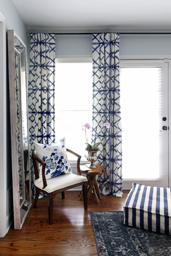 love these fabulous window treatments one room challenge master bedroom makeover by hunted interior blue bedroom shibori drapery panels