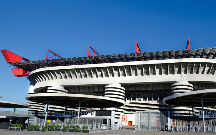 Download wallpapers Giuseppe Meazza, San Siro, 4K, Italian football stadium, Milan, Italy