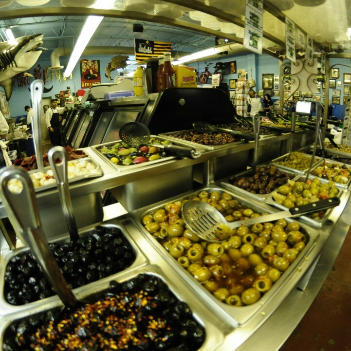 Our #olive bar, stocked full of delicious olives.