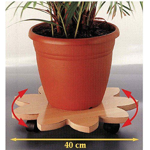 Dicoal b731vhe–Plateau tournant/femmes/ou diamètre 40cm Hêtre: Support plante, enceinte.. Forme fleur, 4 roulettes Supporte 80 kg de…