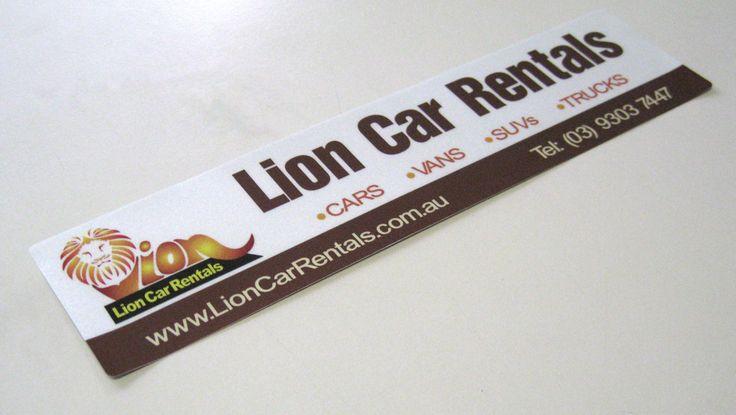 Silver reflective labels for Lion Car Rentals.  www.epping.minutemanpress.com