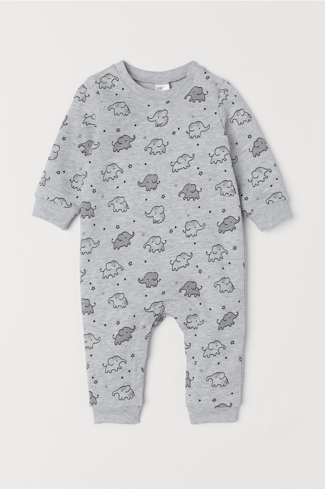 a1457848f All-in-one suit - Light grey marl Elephants - Kids
