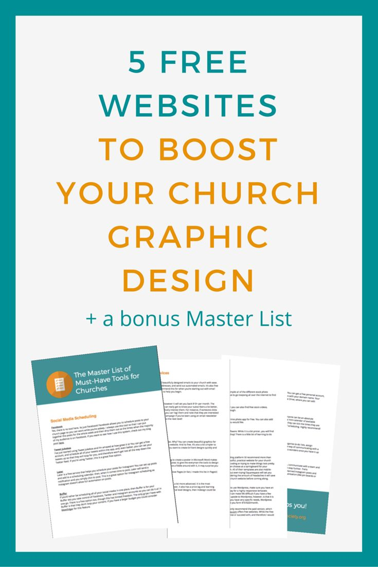 5 FREE websites that will boost your church graphic design Ruth Grace If your church is small with a limited budget - these websites are for you! We'll look at my favourite graphic design sites, my stock photo go-tos, and photo editing apps to get your church designs underway! Click to read now or pin for later.  http://www.saltsociety.org/blog/2016/4/15/5-free-websites-that-will-boost-your-church-graphic-design