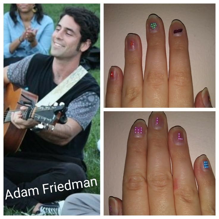 "Of COURSE I had to make Adam nails <3  Left Hand, from Left: AF for Adam Friedman  Green Heart for the Green EP  OMG: He says this a lot. IDK if anyone else notices. But I do.  Thumb you can't see: Perfume bottle from a line from ""Signals,"" my favorite AF song.  Right Hand: S M I L E from my favorite cover song he does on YouTube, ""Smile"" by Nat King Cole. Go check it out. #nailart #adamfriedman"