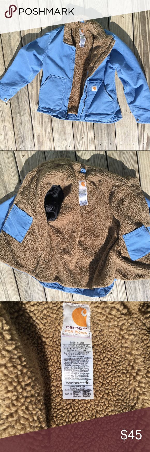 Carhartt sherpa lined, ladies medium, blue Up for sale because I'm too wide in the shoulders is a blue Ladies Carhartt Sherpa lined coat.  It's in excellent used condition and freshly laundered! Carhartt Jackets & Coats Utility Jackets