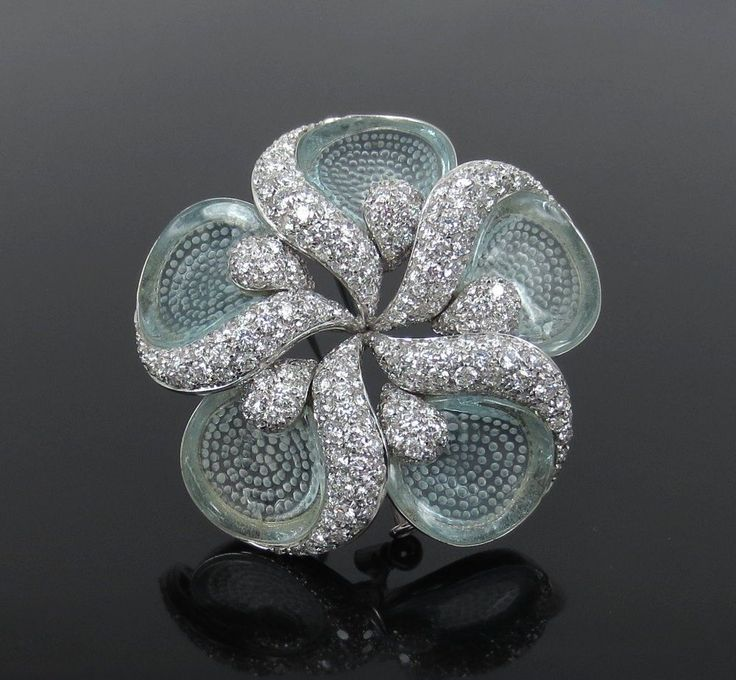 Rare Ambrosi 4.82ct Diamond & 3.80ct Aquamarine 18K Gold Flower Brooch #Ambrosi