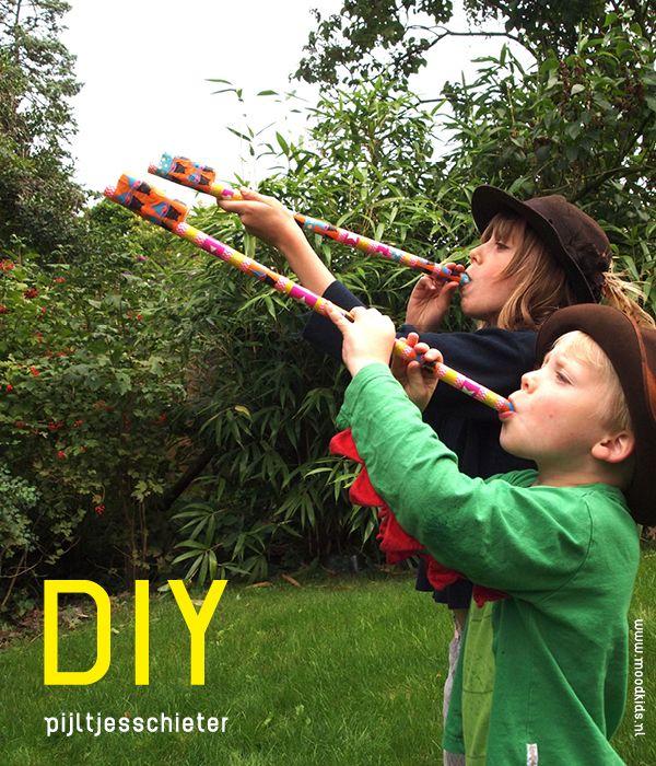 DIY pijltjes schieter, deden wij vroeger ook altijd! En met witte klapbesjes erin.