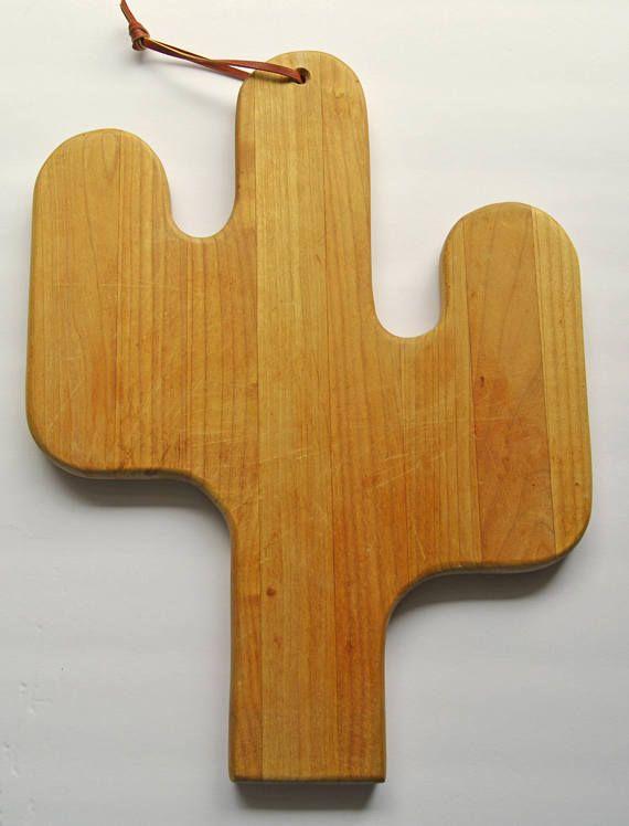 Vintage Cactus Cutting Board, Southwestern Wood Cutting Board