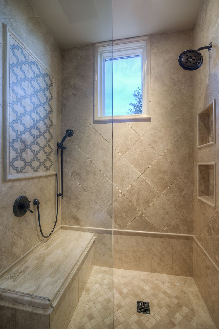 Custom Luxury Walkin Shower with Two Shower Heads and