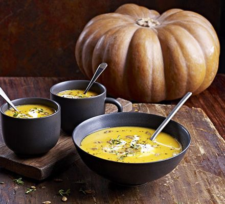Creamy pumpkin & lentil soup Recipe: 800g roasted pumpkin  100g red lentils Thyme 1ltr vegetable stock 2 cloves garlic 2 onions  Fry onions, add roasted pumpkin, lentils & thyme, add stock & cook for 20-25 minutes Pepper & whizz