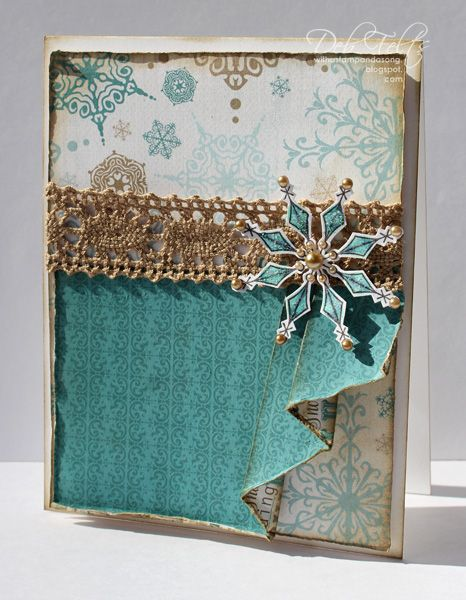"With a Stamp and a Song: Drape-fold card front using the snowflake from GRS' ""Made of Snow"""